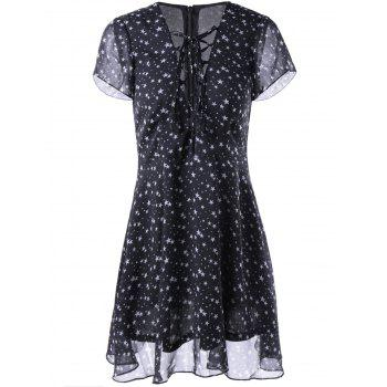 Fashionable Woman's V-Neck Cut-Out Chalaza Star Dress