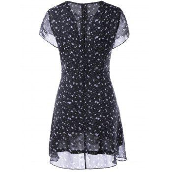 Fashionable Woman's V-Neck Cut-Out Chalaza Star Dress - WHITE/BLACK L