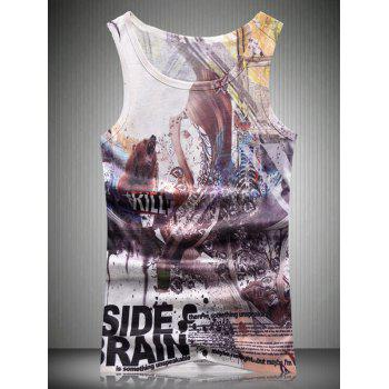Letter Abstract 3D Print Round Neck Men's Tank Top