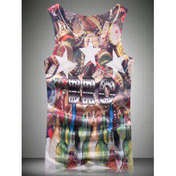 Star and Glass Bottle 3D Print Round Neck Men's Tank Top