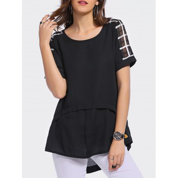 Stylish Women's  Scoop Neck Short Sleeve Plaid Asymmetric Blouse