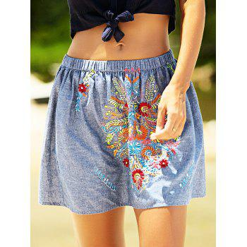 Embroidery Design Elastic Waist Denim Skirt