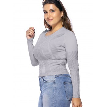 Chic Plus Size Solid Color Hollow Out Women's Knitwear - LIGHT GRAY ONE SIZE(FIT SIZE L TO 3XL)