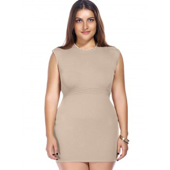 Chic Plus Size Sleeveless Beaded Knitted Women's Dress - KHAKI ONE SIZE(FIT SIZE L TO 3XL)