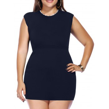 Chic Plus Size Sleeveless Beaded Knitted Women's Dress