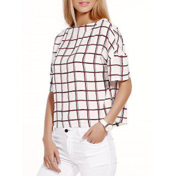 Stylish Checked Half Sleeve Round Neck Women's T-Shirt