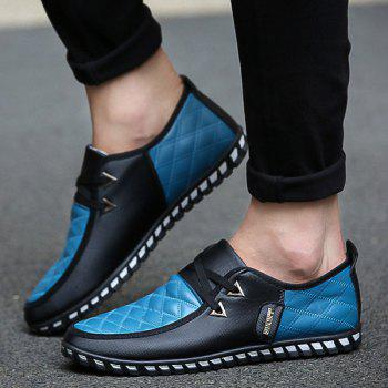Stylish  Checked and Color Block Design Men's Casual Shoes - BLUE BLUE