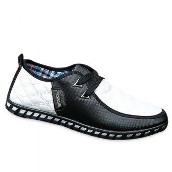 Stylish  Checked and Color Block Design Men's Casual Shoes - WHITE AND BLACK 41