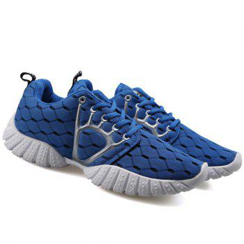 Trendy Mesh and Checked Design Men's Athletic Shoes - 44 44
