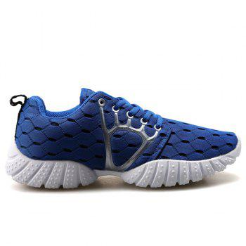 Trendy Mesh and Checked Design Men's Athletic Shoes - BLUE BLUE