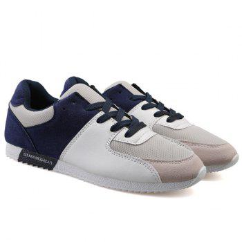 Leisure Color Block and Mesh Design Men's Athletic Shoes - BLUE 42