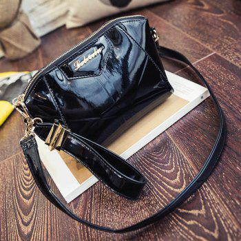 Trendy Patent Leather and Letter Design Women's Clutch Bag - BLACK