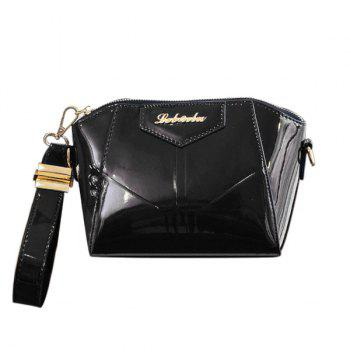 Trendy Patent Leather and Letter Design Women's Clutch Bag - BLACK BLACK
