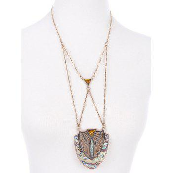 Crossed Faux Gem Pendant Necklace - COLORMIX