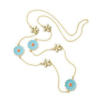 Ethnic Flowers Pendant Necklace - GOLDEN