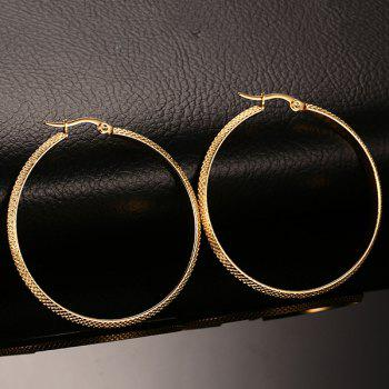 Pair of Alloy Big Circle Earrings - GOLDEN