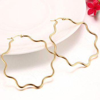 Pair of Waved Alloy Hollowed Earrings - GOLDEN