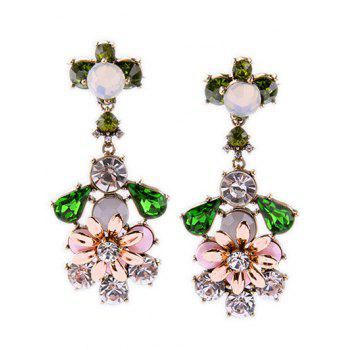 Rhinestone Faux Gem Floral Earrings