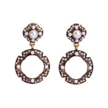 Vintage Rhinestone Faux Pearl Circle Earrings