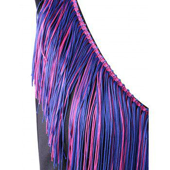 Elegant Women's Fitted V-Neck Fringe Dress - BLACK L