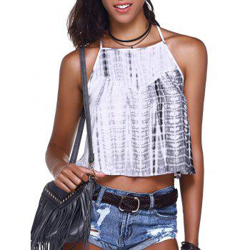 Fashionable Women's  Cross Braces Tie-Dye Crop Top