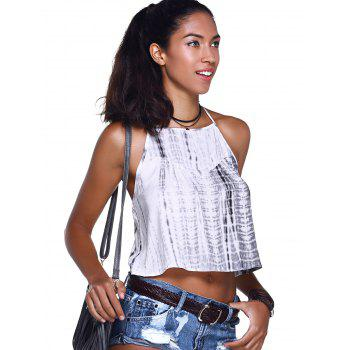 Fashionable Women's  Cross Braces Tie-Dye Crop Top - GREY/WHITE XL