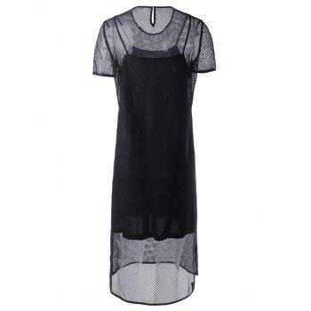 Fashionable Round Collar Cut-Out Two-Piece Short Sleeves Dress For Women - BLACK XL