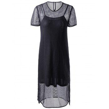 Fashionable Round Collar Cut-Out Two-Piece Short Sleeves Dress For Women