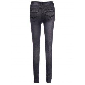 Fashionable Chambray Low-Waisted Women's Skinny Pants - GRAY ONE SIZE(FIT SIZE XS TO M)