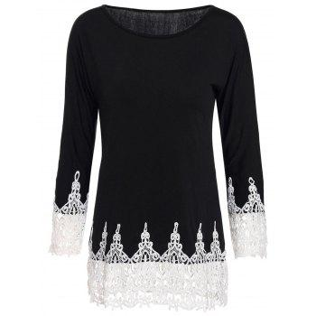 Stylish Women's Scoop Neck 3/4 Sleeve Lace Splicing T-Shirt
