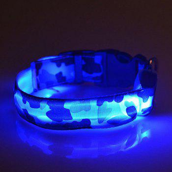 Eye-Catching LED Luminous Camouflage Pattern Night Walk Collar For Dogs - BLUE L