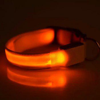 Chic Smooth Surface LED Luminous  Metal Buckle Collar For Dogs