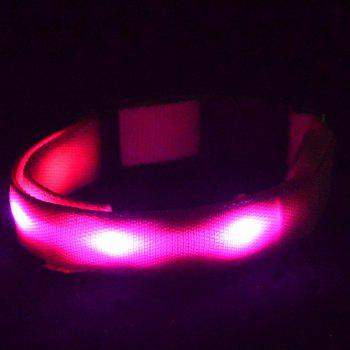 Eye-Catching Rhombus LED Luminous Nylon Night Walk Collar For Dogs