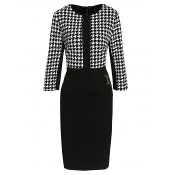 OL style manches 3/4 col rond Zip Robe moulante de Design Femmes Houndstooth