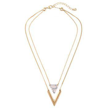 Firstgrabber Triangle Multilayer Stone Necklace