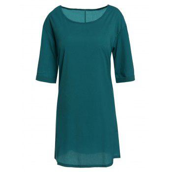 Casual Round Neck Half Sleeve Solid Color Loose-Fitting Women's Dress