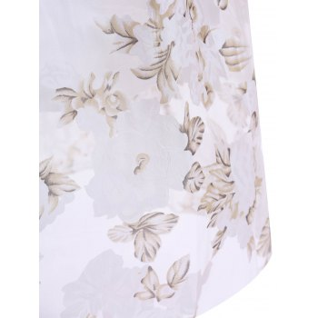 Women's Graceful Floral Print High Waist Pleated Midi Skirt - WHITE ONE SIZE