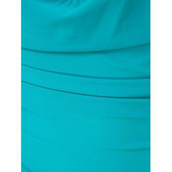 Charming Halter Sleeveless Solid Color Hollow Out Women's Swimwear - GREEN M