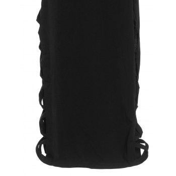 Alluring Scoop Neck Sleeveless Pure Color Cut Out Women's Dress - BLACK XL