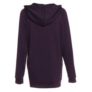 Trendy Hooded Long Sleeve Pocket Design Solid Color Women's Hoodie - PURPLE S