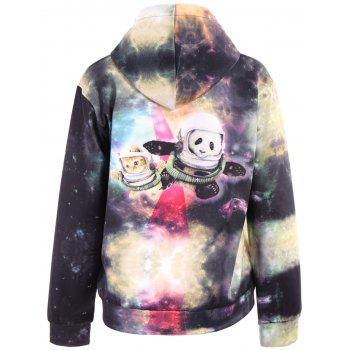 3D Colorful Funny Space Cat Print Front Pocket Drawstring Hooded Long Sleeves Men's Loose Fit Hoodie - COLORMIX L
