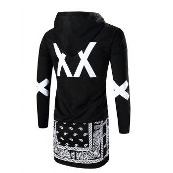 Men's Letter Printed Long Sleeve Hoodie - BLACK S