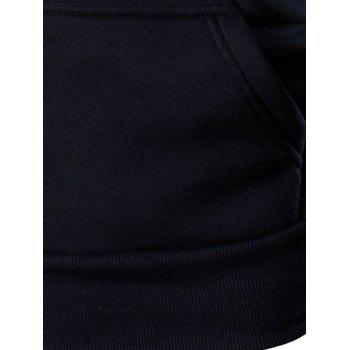 Men's Letter Printed Zipper Design Long Sleeve Hoodie - RED M