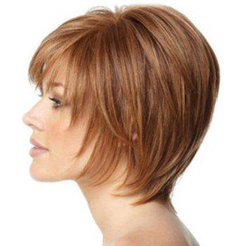 Women's Fluffy Synthetic Side Bang Short Wig - COLORMIX