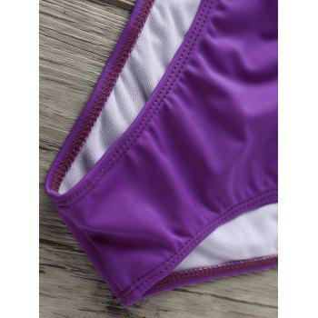 Women's Graceful Halter Pure Color Bikini - PURPLE L