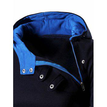 Men's Button and Zipper Design Long Sleeve Hoodie - BLUE M