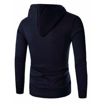 Men's Button and Zipper Design Long Sleeve Hoodie - CADETBLUE 3XL