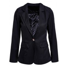 Long Sleeve Slimming One Button Polka Dot Fashionable Style Lapel Neck Women's Blazer