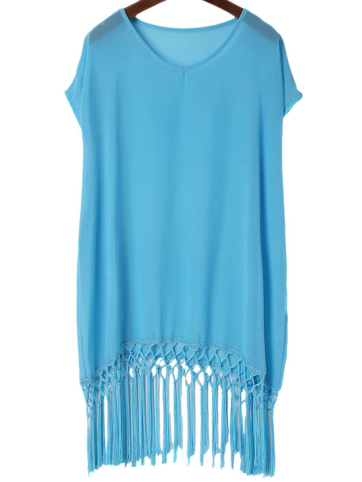 Fashionable V-Neck Solid Color Tassel Spliced Short Sleeve Women's Cover-Up - BLUE ONE SIZE(FIT SIZE XS TO M)