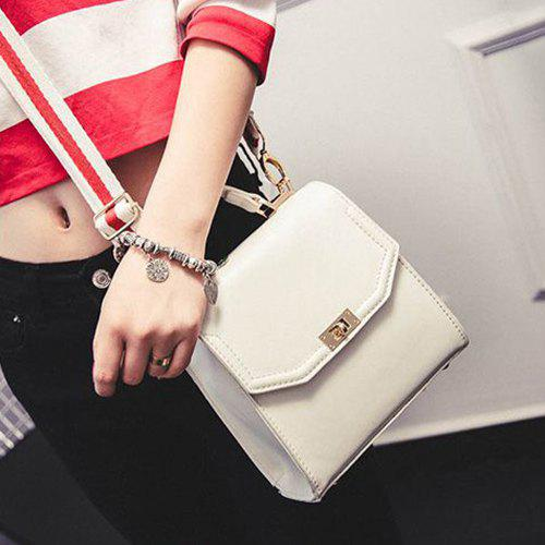Simple Stitching and Hasp Design Women's Tote Bag - WHITE